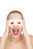 Blind woman screaming Stock Photos