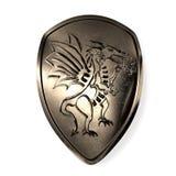 Blindaje con el dragón stock de ilustración