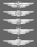 Blindaje de la estrella y emblemas de las alas stock de ilustración