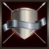 Blindaje de plata con las lanzas y cinta de plata stock de ilustración
