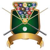 Blindaje del diseño del emblema de la piscina o de los billares stock de ilustración