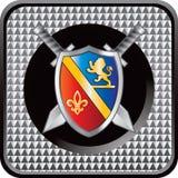 Blindaje medieval y botón checkered del Web de las espadas Foto de archivo libre de regalías