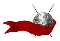 Blindaje redondo medieval con la bandera roja Foto de archivo