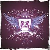 Blindaje violeta retro de Grunge con los leones Imagen de archivo libre de regalías