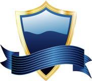 Blindaje y bandera azules Imágenes de archivo libres de regalías