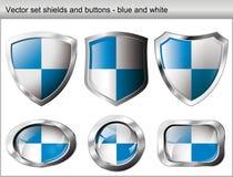 Blindaje y botón brillantes y brillantes stock de ilustración