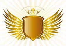 Blindaje y corona, modelo de las alas stock de ilustración