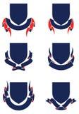 Blindajes y cintas Conjunto de banderas Elemento heráldico del diseño ilustración del vector