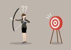 Blinddoek de bedrijfsvrouw zoekt doel in verkeerde richting vector illustratie