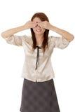 Blinde Geschäftsfrau Stockfoto