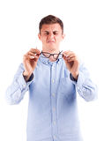 Blinde man hold glasses. Isolated Stock Images
