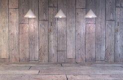 Blinde muur met hierboven lampen Stock Foto's