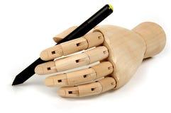Blinde Stifthand Stockfoto