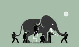 Blinden wat betreft een olifant stock illustratie