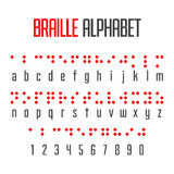 Blindenschrift-Alphabet und -zahlen Stockbilder