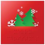 Blindenschrift-Alphabet-Weihnachten mit Papiergraphik Stockfotos