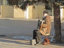 Blinder Akkordeonspieler Stockbild