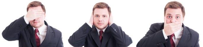 Blinder Deaf mute fragt das Konzept ab, das von entsprochenem Geschäftsmann gemacht wird Stockfoto