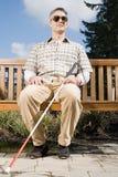 Blinder, der auf einer Bank sitzt Stockbilder