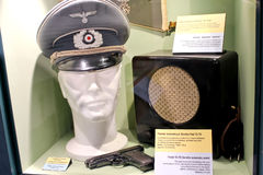 Blinder deutscher Offizier am Museum des Kampfes von Normandie. Lizenzfreie Stockfotos
