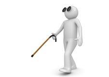 Blinder Mann mit gehendem Steuerknüppel stock abbildung