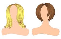 Blindes Schattenbild der Vektorillustration einer Frau mit dem schönen Haar kann als Fahnen für Design benutzt werden Stockfotos