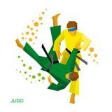 Blindfold бойцы дзюдо Бой для визуально поврежденных людей Стоковая Фотография RF