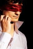 blindfold красивый портрет человека романтичный Стоковое Изображение RF