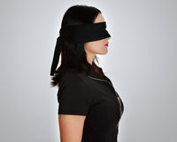 Blindfold business woman Stock Images