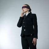 Blindfold business woman silence Royalty Free Stock Images