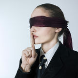 Blindfold business woman silence Royalty Free Stock Image