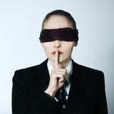 Blindfold business woman silence Stock Images
