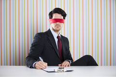 Blindfold businessman Stock Photo