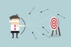 Blindfold businessman loser shooting arrow. Vector illustration Stock Photo