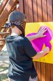 Blindfolded boy Stock Images