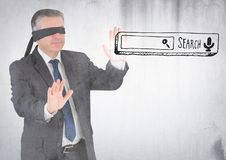 Blindfolded business man and search bar against white wall with grunge overlay Stock Images