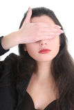Blindfolded business woman in black Stock Image