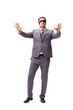 The blindfolded businessman isolated on white Stock Photography