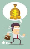 Blindfolded businessman running to find money. Stock vector illustration Stock Photo