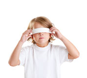 Blindfolded children blond kid portrait isolated Royalty Free Stock Image