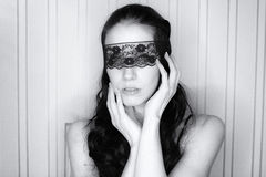 Blindfolded sexy woman Royalty Free Stock Image