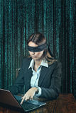 Blindfolded woman alone on the web Royalty Free Stock Photos