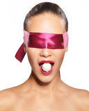 Blindfolded woman Royalty Free Stock Photography