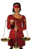 Blindfolded Woman Holding Scales Royalty Free Stock Photo