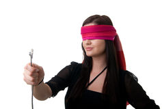 Blindfolded woman network cable Royalty Free Stock Photos