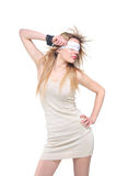 Blindfolded young woman royalty free stock photo