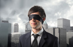 Blindman's buff in the city Stock Photo