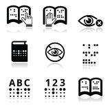 Blindness, Braille writing system icon set Stock Photo