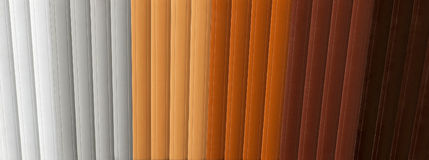 Blinds samples. Wide variety of color palettes for window blinds royalty free stock photo