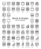 Blinds & Shades. Window shutters & panel curtains. Home decor elements. Window coverings. Line icon collection. Blinds & Shades. Sun protection. Room darkening royalty free illustration